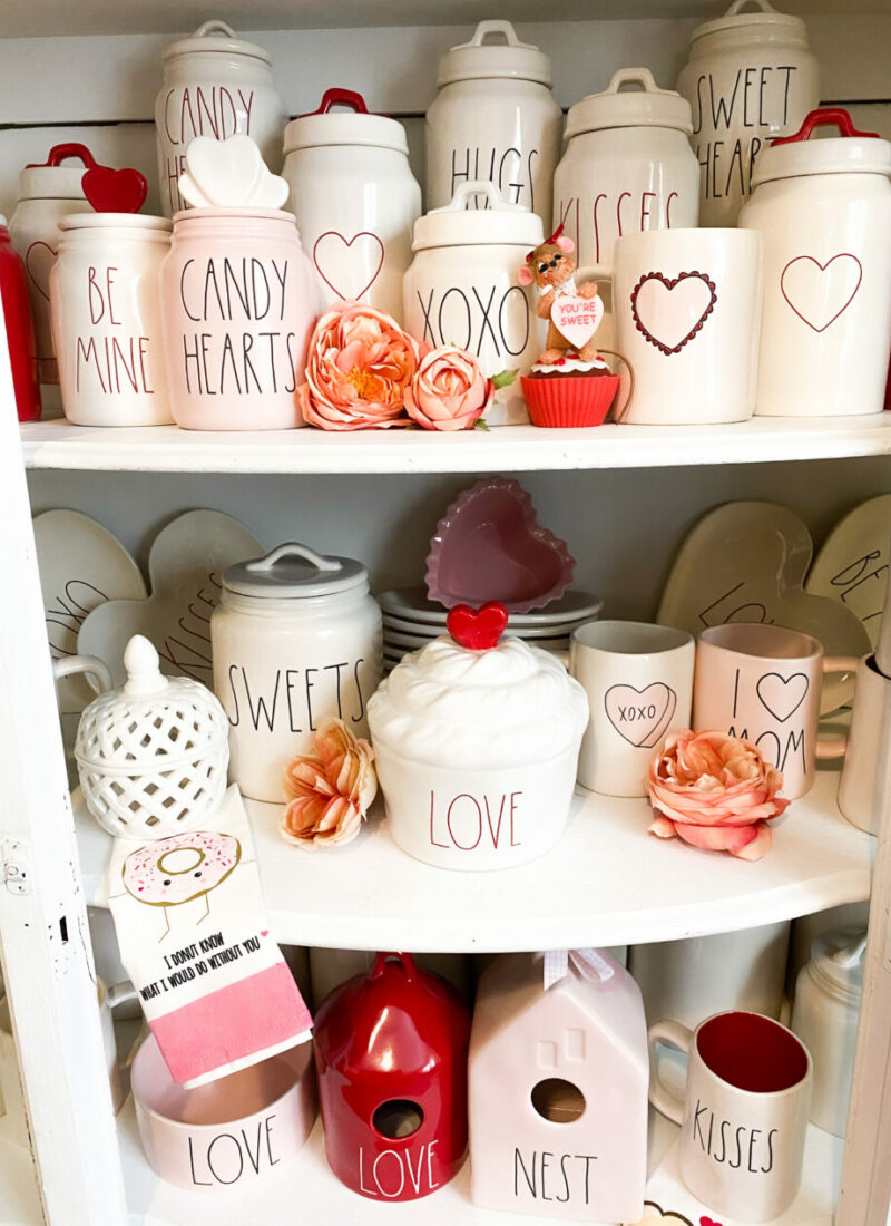 Decorating A Hutch for Valentine's Day
